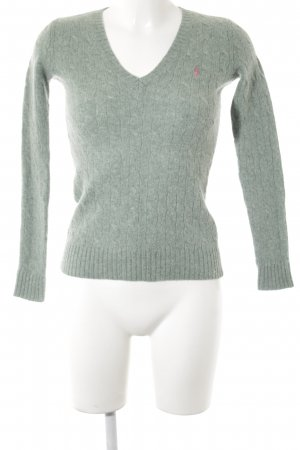 Ralph Lauren Sport V-Neck Sweater sage green cable stitch casual look