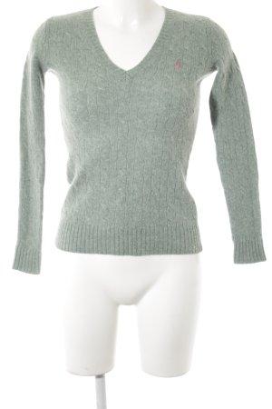 Ralph Lauren Sport V-Ausschnitt-Pullover graugrün Zopfmuster Casual-Look