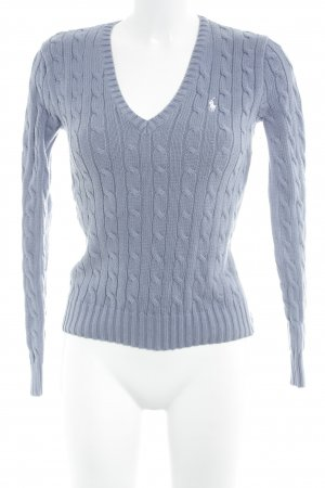 Ralph Lauren Sport V-Ausschnitt-Pullover himmelblau-weiß Zopfmuster