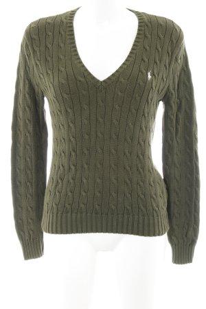 Ralph Lauren Sport V-Ausschnitt-Pullover khaki Zopfmuster schlichter Stil