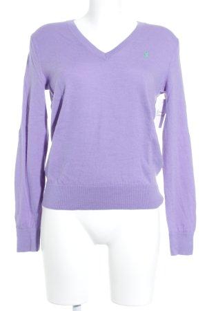 Ralph Lauren Sport V-Ausschnitt-Pullover lila-grün Casual-Look