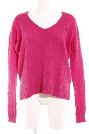 Ralph Lauren Sport V-Ausschnitt-Pullover pink Zopfmuster Elegant