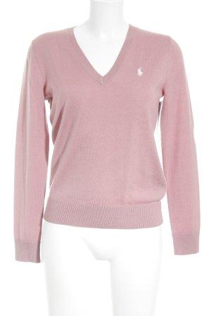 Ralph Lauren Sport V-Ausschnitt-Pullover rosa-weiß Business-Look