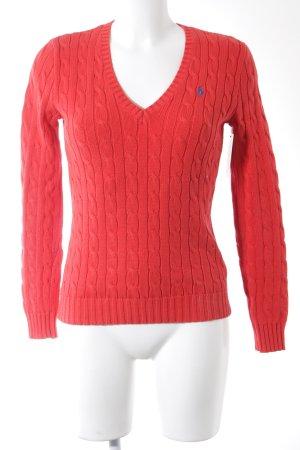 Ralph Lauren Sport V-Ausschnitt-Pullover rot Zopfmuster Casual-Look