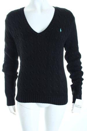Ralph Lauren Sport V-Ausschnitt-Pullover schwarz-türkis sportlicher Stil