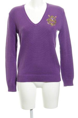 Ralph Lauren Sport V-Ausschnitt-Pullover violett Casual-Look