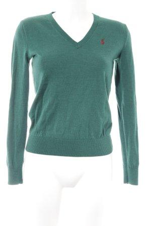 Ralph Lauren Sport V-Ausschnitt-Pullover waldgrün schlichter Stil