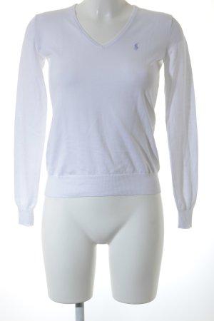 Ralph Lauren Sport V-Ausschnitt-Pullover weiß-hellblau Casual-Look