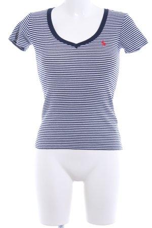 Ralph Lauren Sport V-Ausschnitt-Shirt blau-wollweiß Streifenmuster Casual-Look