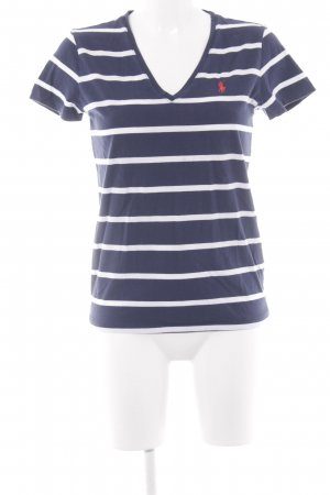 Ralph Lauren Sport Camisa con cuello V azul oscuro-blanco estampado a rayas