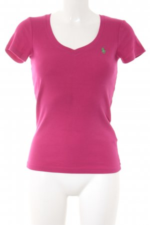 Ralph Lauren Sport V-Ausschnitt-Shirt magenta-grün Segel-Look