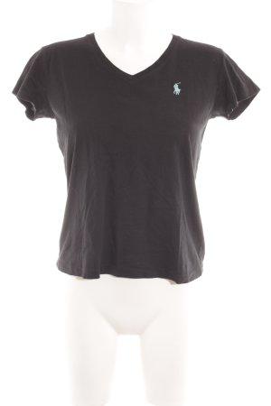 Ralph Lauren Sport V-Ausschnitt-Shirt schwarz-türkis Casual-Look