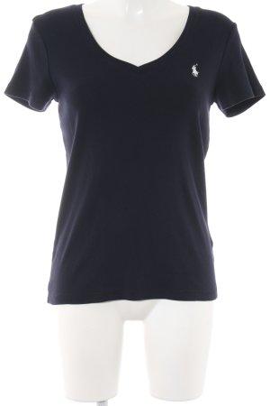 Ralph Lauren Sport V-Ausschnitt-Shirt weiß-dunkelblau Casual-Look