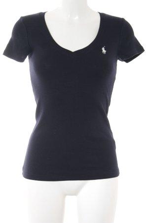 Ralph Lauren Sport V-Ausschnitt-Shirt weiß-dunkelblau Segel-Look