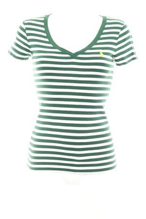 Ralph Lauren Sport V-Ausschnitt-Shirt weiß-waldgrün Streifenmuster Casual-Look