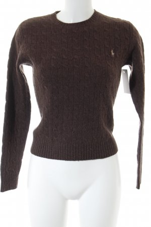 Ralph Lauren Sport Wool Sweater brown cable stitch casual look