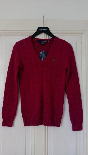 Ralph Lauren Sport Zopfmuster-Pullover Pink M Strickpullover