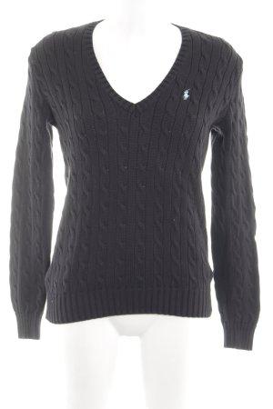 Ralph Lauren Sport Jersey trenzado negro punto trenzado look casual