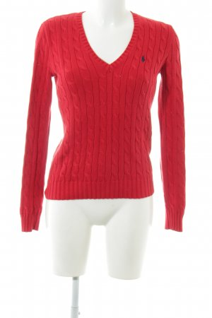 Ralph Lauren Sport Cable Sweater red cable stitch casual look