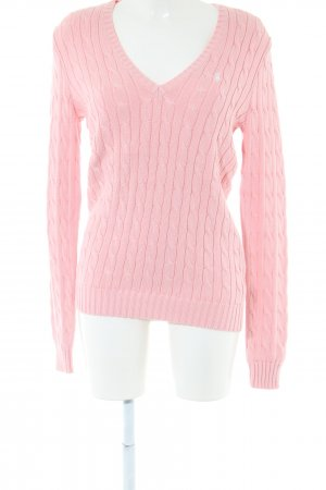 Ralph Lauren Sport Cable Sweater pink cable stitch casual look