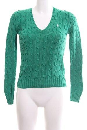 Ralph Lauren Sport Zopfpullover grün Zopfmuster Business-Look