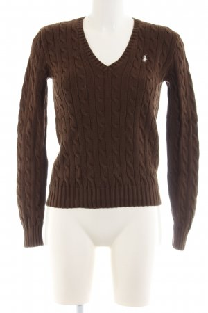 Ralph Lauren Sport Cable Sweater brown cable stitch casual look