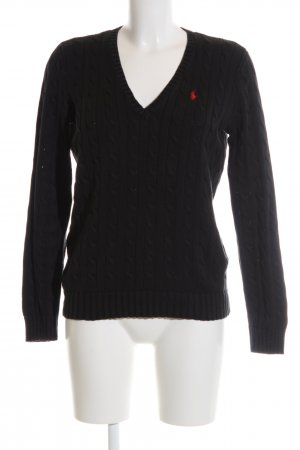 Ralph Lauren Sport Cable Sweater black-red cable stitch casual look
