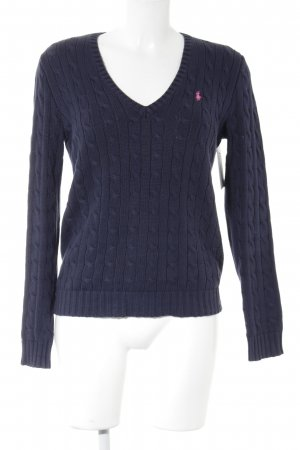Ralph Lauren Sport Cable Sweater dark blue cable stitch casual look