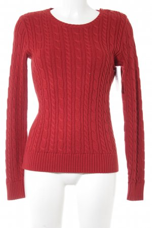 Ralph Lauren Sport Cable Sweater dark red cable stitch casual look