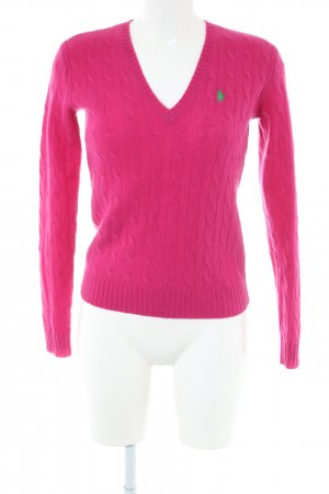 Ralph Lauren Sport Cable Sweater pink cable stitch business style