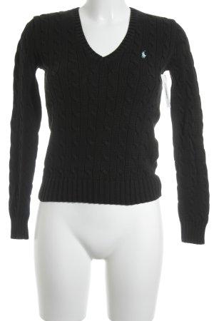 Ralph Lauren Sport Zopfpullover schwarz Zopfmuster Brit-Look