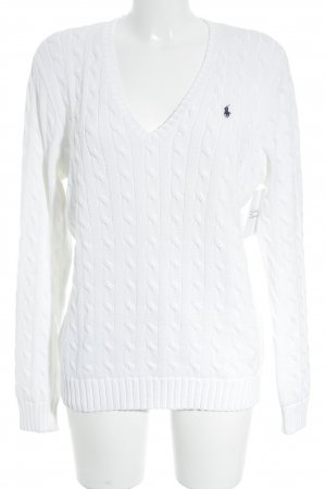 Ralph Lauren Sport Cable Sweater white-dark blue embroidered logo