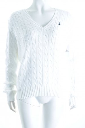 Ralph Lauren Sport Zopfpullover weiß Zopfmuster Casual-Look
