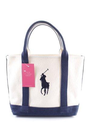 Ralph Lauren Borsa di tela bianco sporco-blu scuro modello web stile casual
