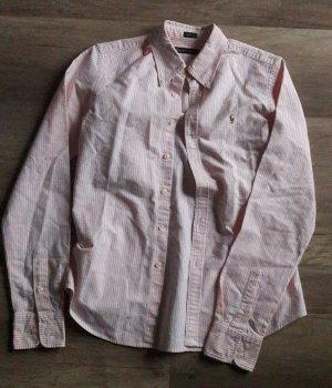 Ralph Lauren Streifen Bluse Skinny fit Rosa Weiß Polo Pferd 6