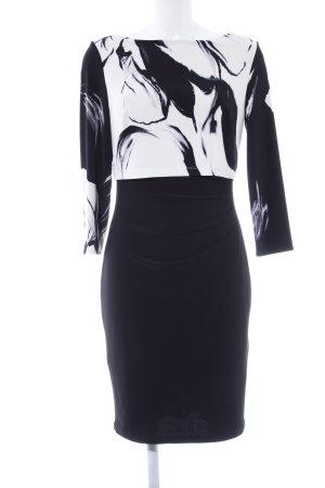 Ralph Lauren Stretchkleid schwarz-weiß abstraktes Muster Elegant
