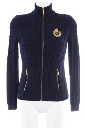 Ralph Lauren Strick Cardigan dunkelblau-goldfarben sportlicher Stil
