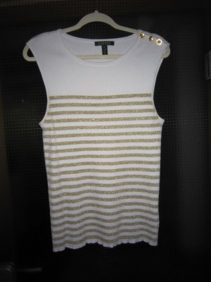 Lauren by Ralph Lauren Knitted Top white-gold-colored cotton