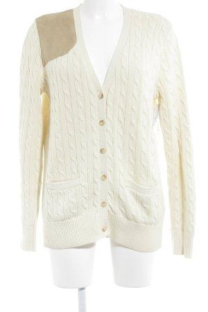 Ralph Lauren Giacca in maglia crema-beige punto treccia stile classico