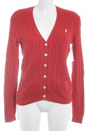 Ralph Lauren Strickjacke rot Zopfmuster Casual-Look