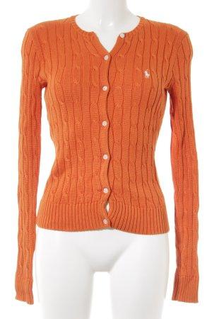 Ralph Lauren Strickjacke weiß-orange Zopfmuster klassischer Stil
