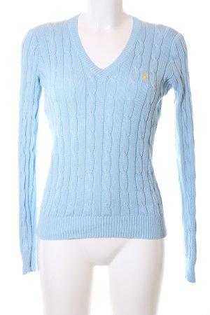 Ralph Lauren Strickpullover blau Zopfmuster Business-Look