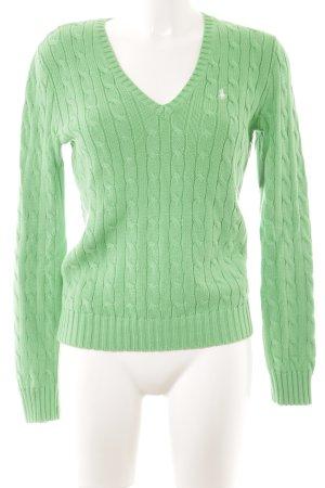 Ralph Lauren Strickpullover grün Zopfmuster Casual-Look