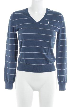 Ralph Lauren Strickpullover kornblumenblau-weiß Streifenmuster Casual-Look