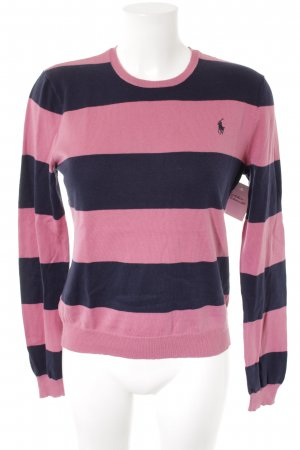 Ralph Lauren Strickpullover rosa-dunkelblau Streifenmuster Casual-Look