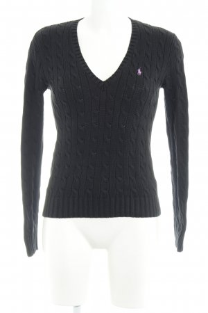 Ralph Lauren Knitted Sweater black cable stitch casual look