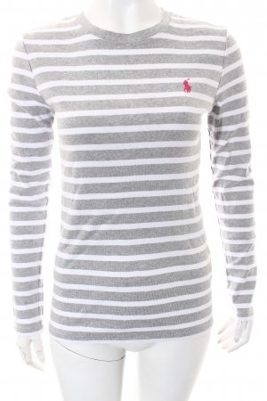 Ralph Lauren Strickpullover weiß-hellgrau Streifenmuster Casual-Look