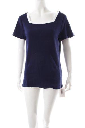Ralph Lauren Camisa tejida blanco-azul oscuro estilo sencillo