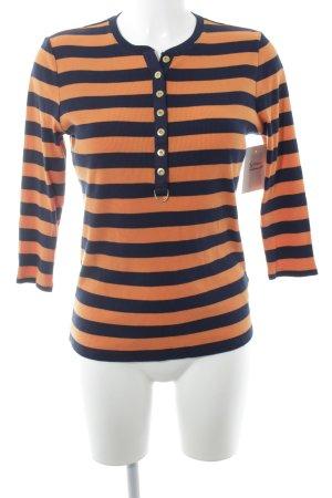 Ralph Lauren Sweatshirt dunkelblau-dunkelorange Ringelmuster Casual-Look