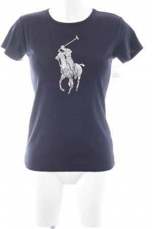 Ralph Lauren T-Shirt dunkelblau-silberfarben platzierter Druck Casual-Look